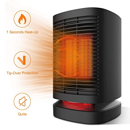 Calefactor Eléctrico Cerámica, 950W Calentador de Aire Caliente de Bajo Consumo Estufa Portatil Espacio Personal