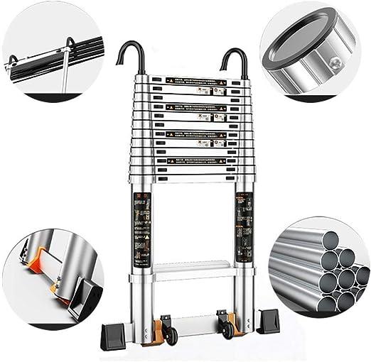 Escalera telescópica Portátil Aluminio Oficina de Techos Home Loft Seguridad con Gancho Desmontable y Barra estabilizadora, Carga 330 LB: Amazon.es: Hogar