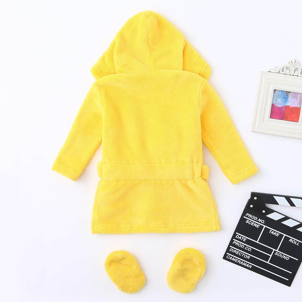 Fine Infant Boys Girls Cartoon Flannel Bathrobes Hoodie Sleepwear+Footwear Outfits