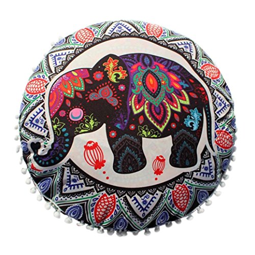 OCASHI Indian Floor Pillows Vintage Mandala Decorative Seating Floor Throw Pillow Covers Bohemian Round Cushion Case 43 X 43cm (43 X 43cm, B) -