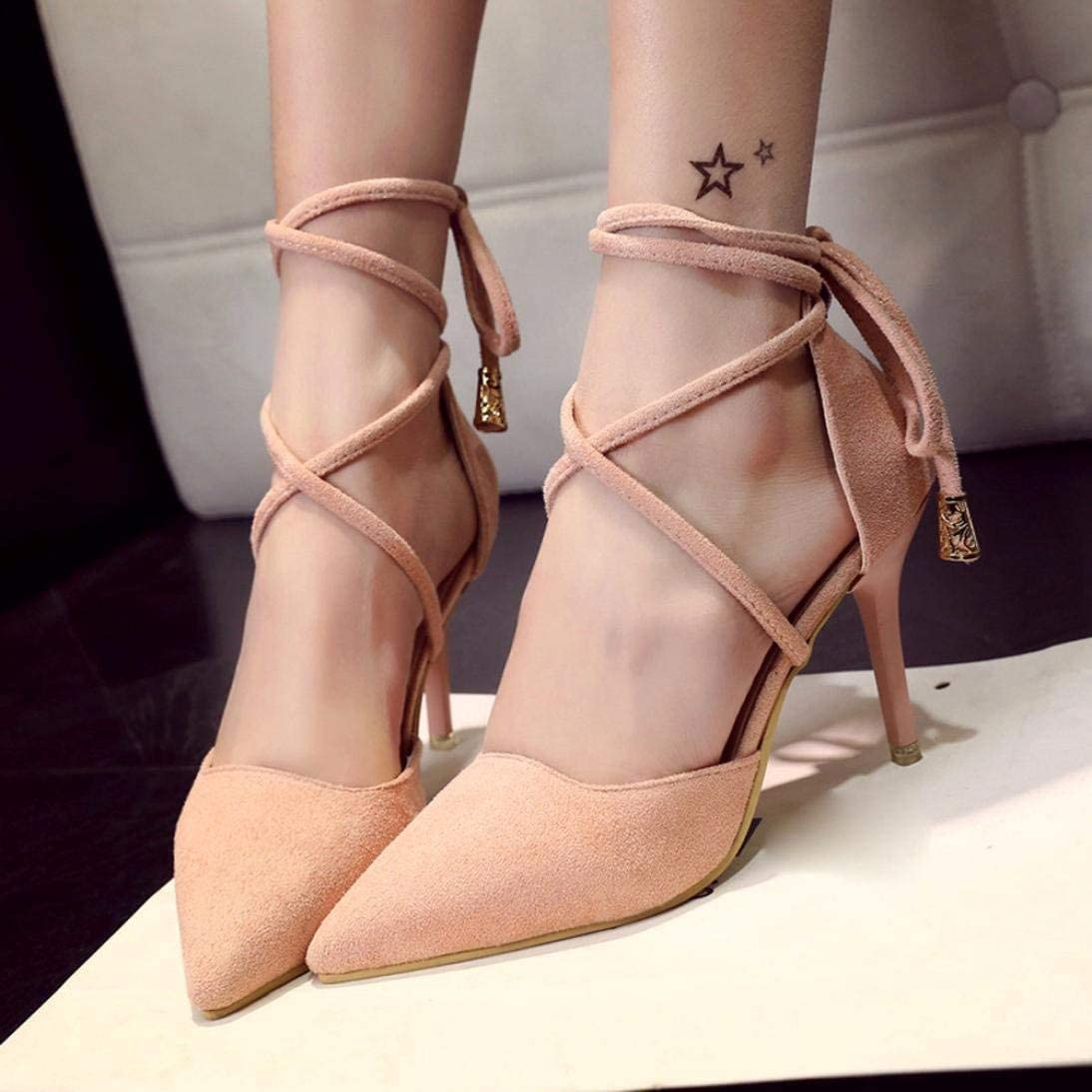 JackieTD Womens Stiletto Heel Point Toe Dress Pumps Ankle Tie Sandals