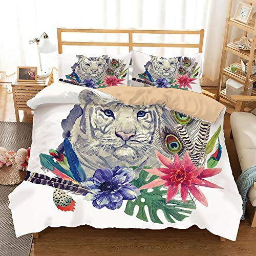 Cover Futon Montage - Tiger Khaki Duvet Cover Set King Size,Retro Inspired Symbols Ethnic Montage with Contrasting Colors Anemone Majestic Feline Decorative,Decorative 3 Piece Bedding Set with 2 Pillow Shams,Multicolor