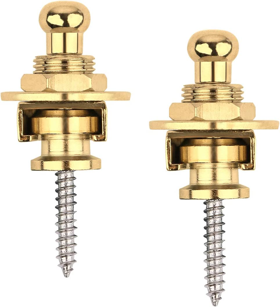 Pack of 2 Golden Premium Guitar Strap Locks and Buttons Security Quick Release Straplocks Strap Retainer System Nickel