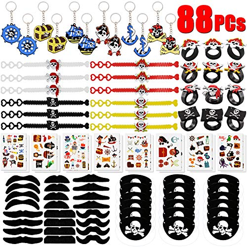 GeeVen 88 PCs Pirate Party Supplies Favors Pirate Keychain Rings Bracelets Pirate Eye Patch Mustache Tattoos Stickers Pirate Party Favors Decoration]()