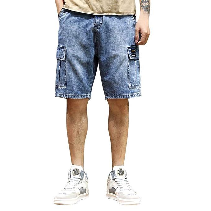 Uomo Jeans-Bermuda Pantaloncini Jeans Shorts Pantaloni Corti Chino Nero//Grigio//Blu Nuovo
