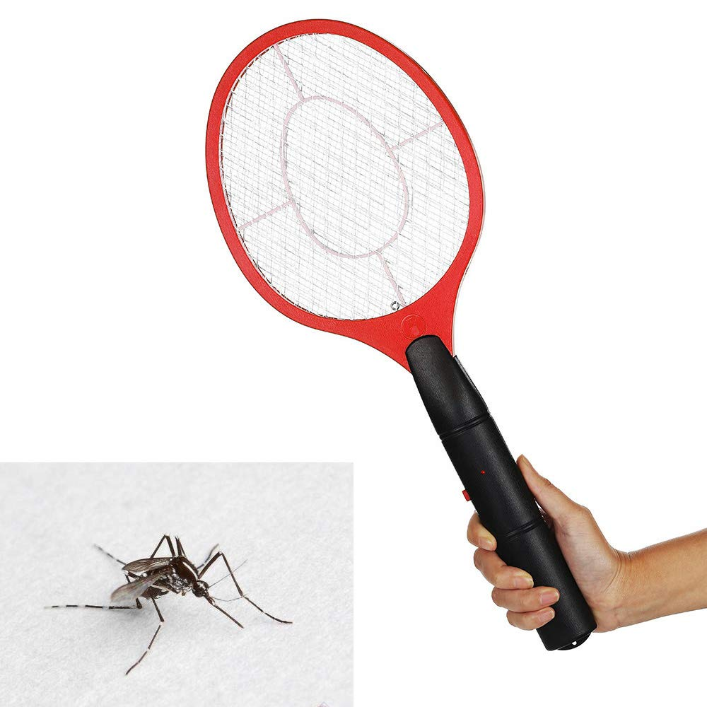 Electric Fly Swatter Racket Battery Operated Tennis Handheld Electric Mosquito Bug Zapper Beat For Camping Outdoor Night (Blue) Wrighteu