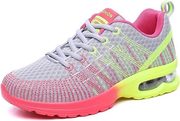 Zapatillas de Deporte con amortiguación de Aire de Primavera y otoño para Mujer Zapatillas de Deporte para Correr Transpirables de Malla Cojín de Aire Multicolor Deportivas al Aire Libre: Amazon.es: Zapatos y