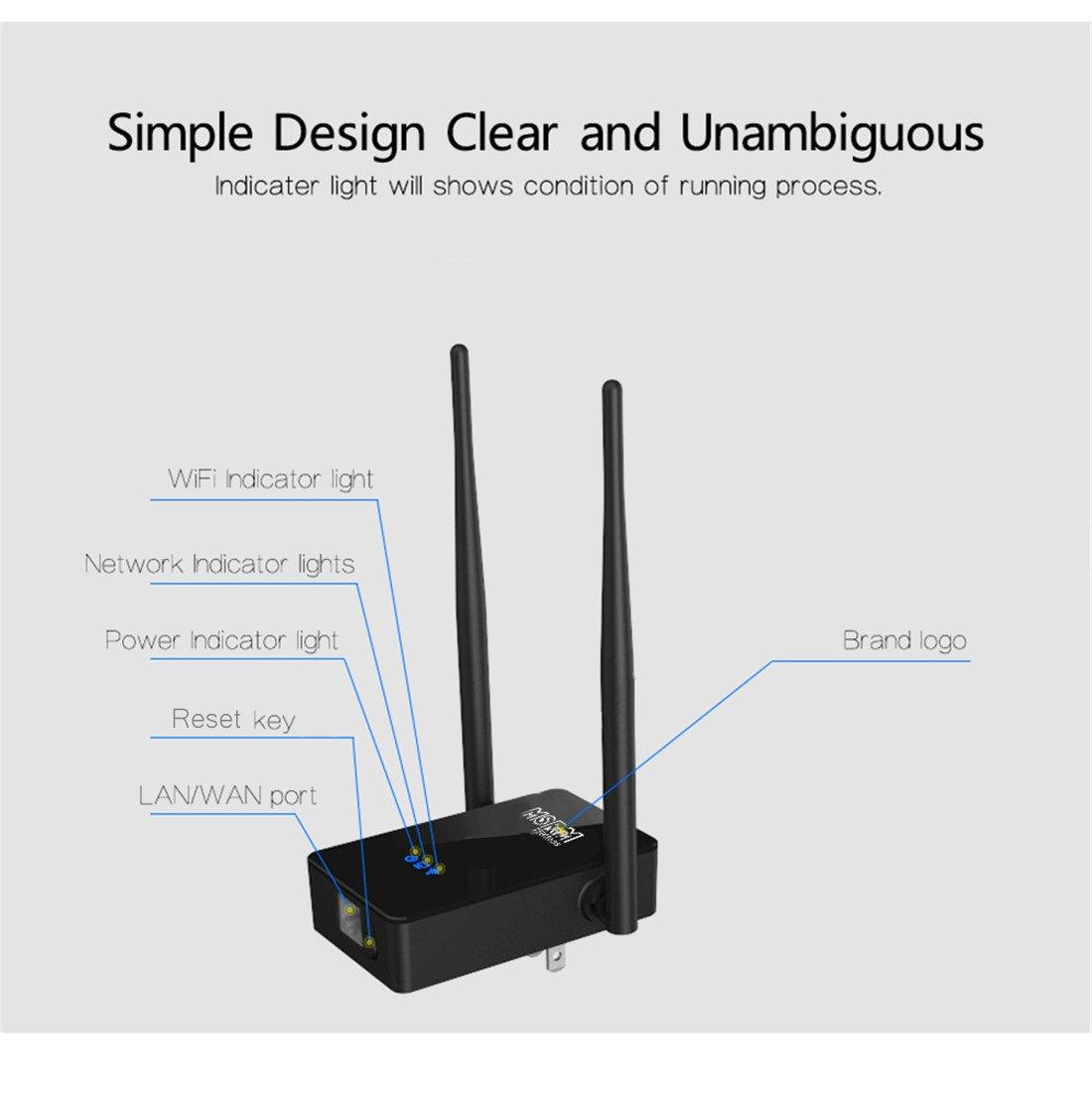 MSRM US750 750Mbps Long WiFi Range Extender 360 Degree Full Coverage High Power Dual Band Range Extender (Black) by MSRMUS (Image #5)