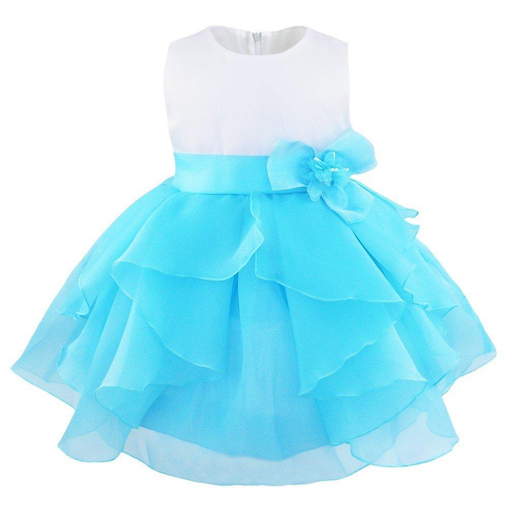 Freebily Süßes Baby Mädchen festlich Kleid Blumenmädchenkleid Ärmellos Organza Tütü Prinzessin Kleid Babykleid Partykleid Festzug mit Blumen in Größe 62-98.