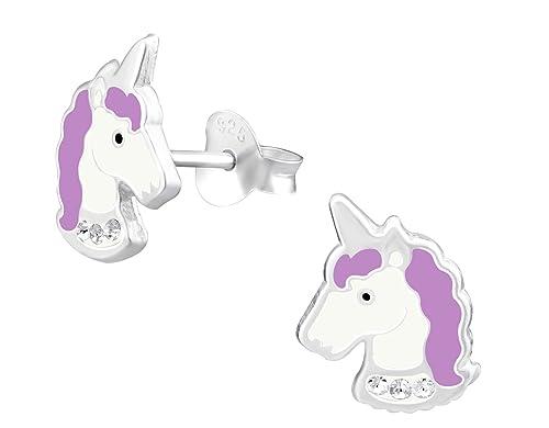 7eeed931f Hypoallergenic Sterling Silver Unicorn Stud Earrings for Little Girls  (Crystal/Purple)