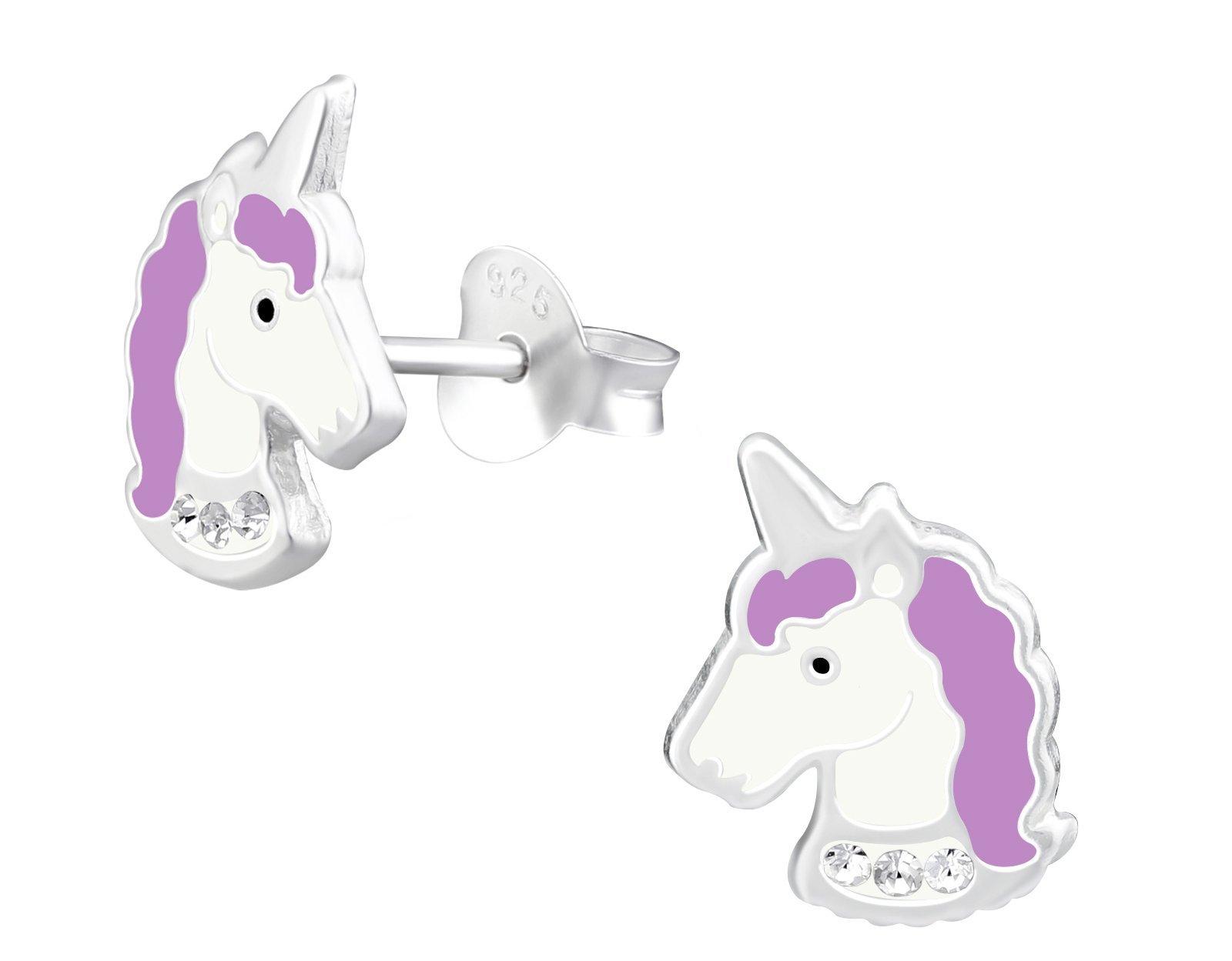 Hypoallergenic Sterling Silver Purple Crystal Unicorn Stud Earrings for Little Girls (Nickel Free)