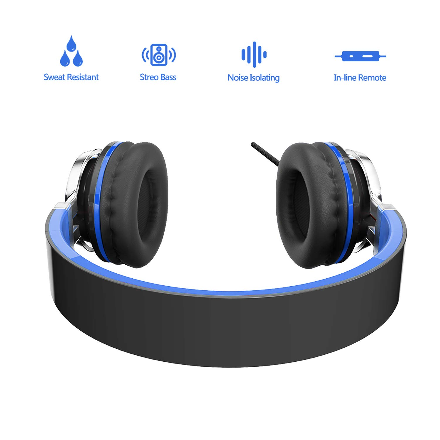 Elecder i39 Headphones with Microphone Kids Children Girls Boys Teens Foldable Adjustable Wired On Ear Headsets Compatible iPad Cellphones Computer MP3/4 Blue/Black by ELECDER (Image #3)