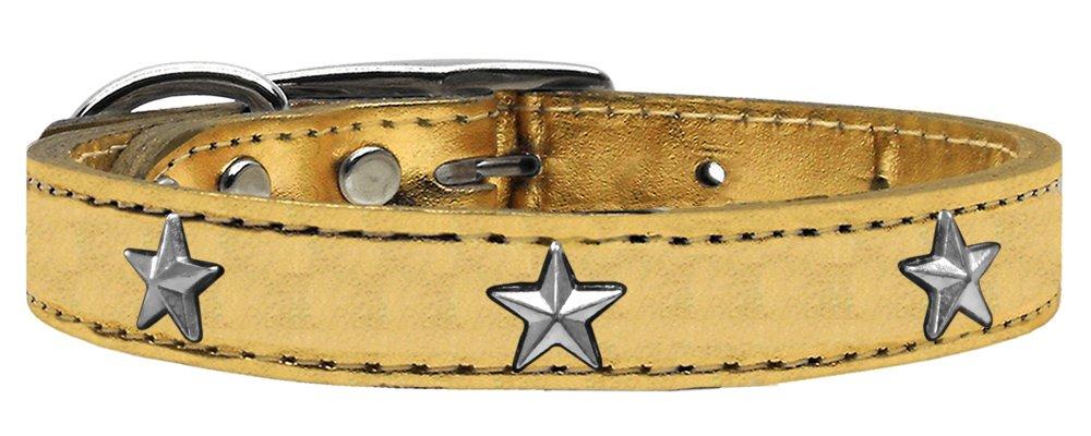 Mirage Pet Products Star Widget Genuine Metallic Leather Dog Collar, Size 12, gold Silver