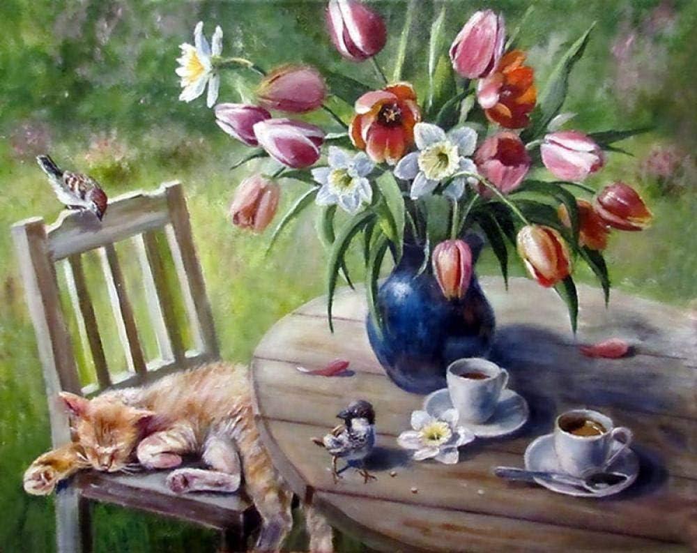 N/O DIY Pintura al óleo por números Kit Chaise Cat Flower DIY Pintura al óleo Kit con Pinceles y Pinturas para Niños Seniors Junior 40X50cm Sin Marco