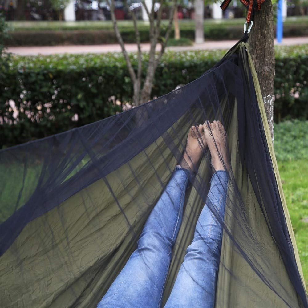 LOLO TOUR Easy Set Up Mosquito Bug Net Hammock Single Double Portable for Camping Travel Yard Outdoor Indoor Easy Assemble with Straps and Carabiners