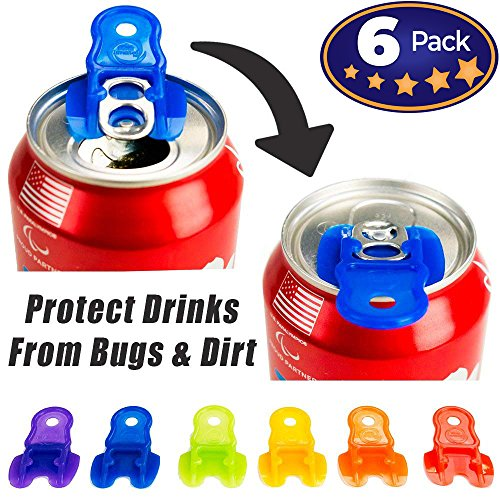 Beverage Barricade Soda Protector 6 Pack for Active Families. Improve Your Picnic or BBQ Experience: Shield Your Cans From Bugs & Dirt, Easily ID Whose Drink is Whose & Eliminate Painful Top Popping. -