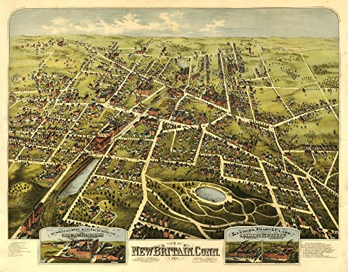 New Britain, Connecticut - Panoramic Map (24x36 SIGNED Print Master Giclee Print w/Certificate of Authenticity - Wall Decor Travel Poster)