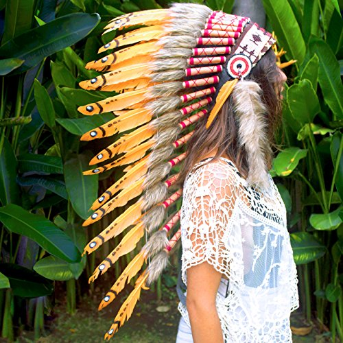 Long Feather Headdress- Native American Indian Inspired- Handmade by Artisan Halloween Costume for Men Women with Real Feathers - Orange (Sexy Indian Man)