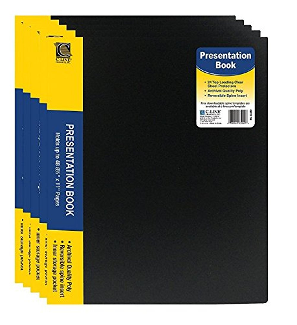 C-Line Pocket Bound Sheet Protector Presentation Book, For 8.5 x 11-Inch Inserts, Black