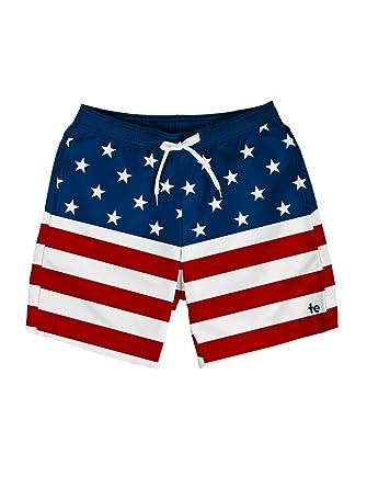 82c5799212 Tipsy Elves Men's American Flag Swim Trunks - Patriotic USA Stars ...