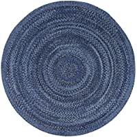 LOCHAS Natural Fiber Braided Multicolor Area Rug Hand Woven Reversible Round Solid T/C Carpet Living Room Bedroom Rugs(4.9 x 4.9), Indigo