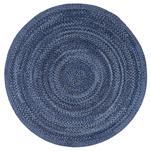 Pottery Barn Outdoor Rugs - LOCHAS Natural Fiber Braided Multicolor Area Rug Hand Woven Reversible Round Solid T/C Carpet for Living Room Bedroom Rugs(4.9' x 4.9'), Indigo