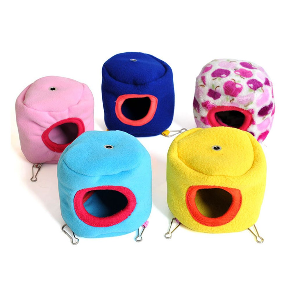 LAAT 1PC Lovely Hamster Nest Winter Warm Cotton Hammock Toy Pet Bed Small Animal Pets Cages-Random Color