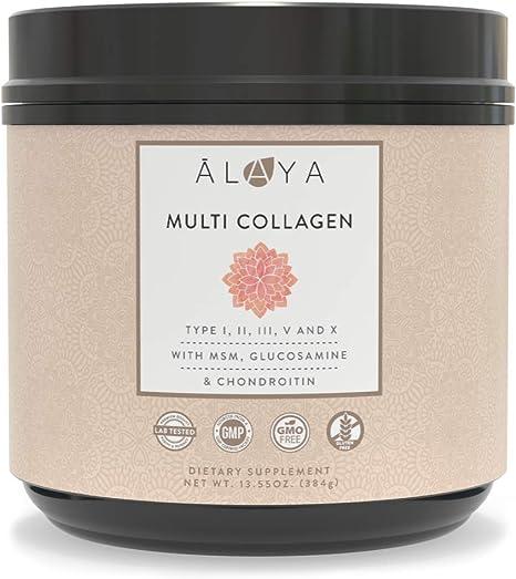 Alaya Multi Collagen Powder - Type I, II, III, V, X Hydrolyzed Collagen Peptides Protein Powder Supplement with MSM + GC - Unflavored