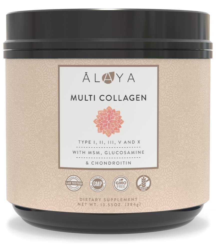 Alaya Multi Collagen Powder for Women - Type I, II, III, V, X Hydrolyzed Collagen Peptides Protein Powder Supplement with MSM + GC - Unflavored