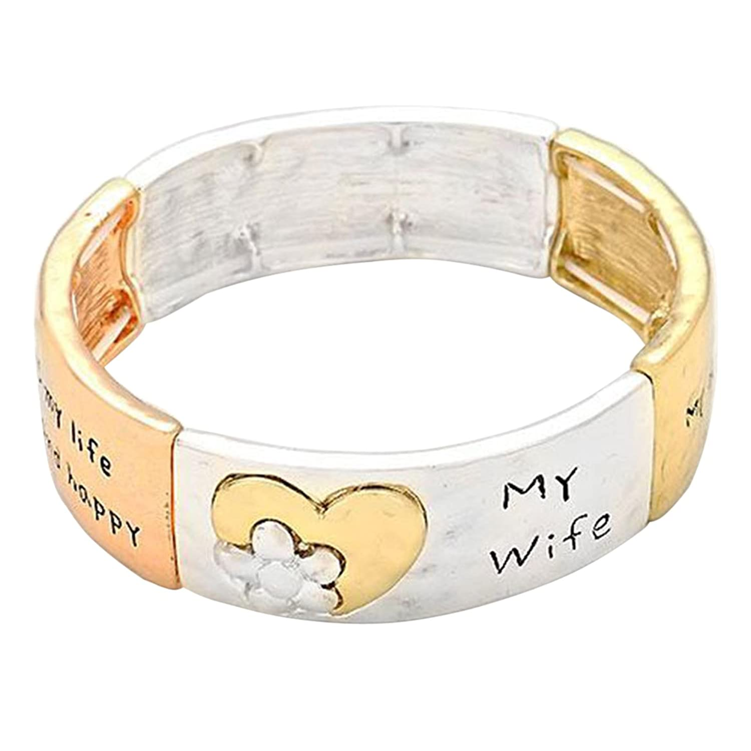 """Rosemarie Collections Women's Floral Heart Stretch Bangle Bracelet """"My Wife"""" Gift"""