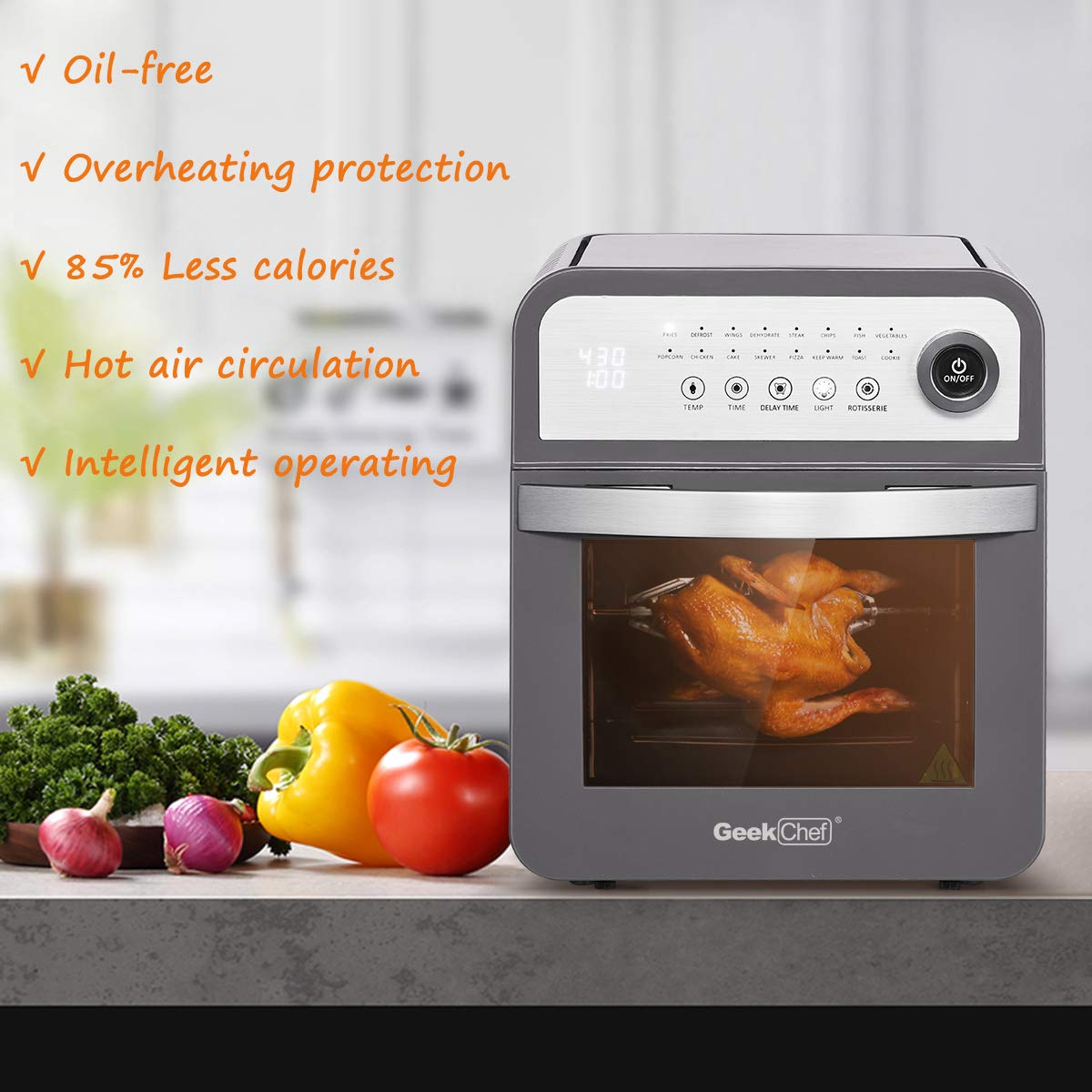 Geek Chef Air Fryer Oven 12 Quart Large Capacity with Rotisserie and Dehydrator All in One Multi-Function Healthy Fryer with 16 preset Modes, 8 Cooking Accessories Kits and Cooking Recipe Gray