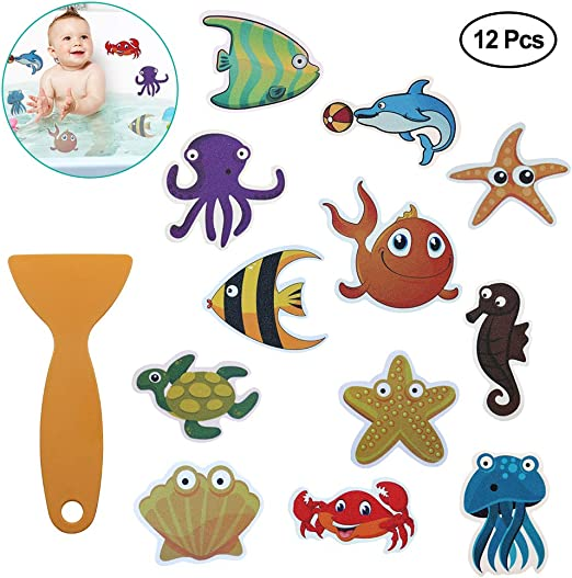 12PCS Anti-Slip Bathtub Stickers Self-adhesive Shower Decals Safe Appliques