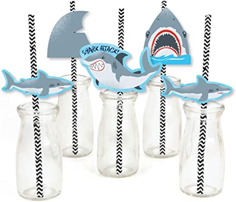 Big Dot of Happiness Shark Zone - Paper Straw Decor - Jawsome Shark Viewing Week Party or Birthday Party Striped Decorative Straws - Set of 24