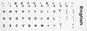 [2PCS Pack] HRH English Keyboard Stickers,PC Keyboard Stickers White Background with Black Lettering for Computer