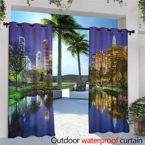 City Outdoor- Free Standing Outdoor Privacy Curtain North Carolina Marshall Park United States American Night Reflections on Lake Photo for Front Porch Covered Patio Gazebo Dock Beach Home W108