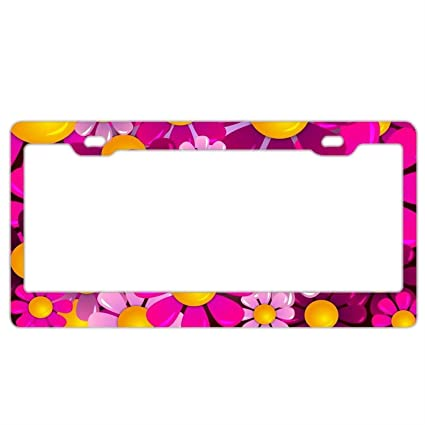 Amazon.com: Abstract Flowers License Plate Frame Personalized Funny ...
