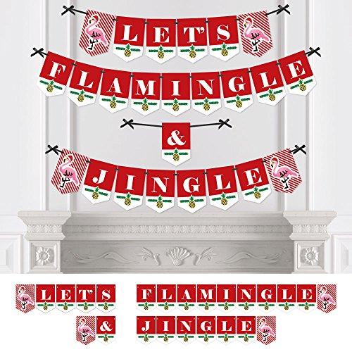 Big Dot of Happiness Flamingle Bells - Party Bunting Banner - Tropical Flamingo Christmas Party Decorations - Let
