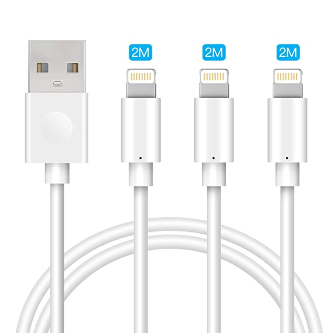 RUKINI Cable Lightning [MFi Certificado] iPhone Cable 2M 3Pack iPhone Cargador Cable Carga Rápida Compatible para iPhone 11 Pro XR XS X XS MAX 8 Plus ...