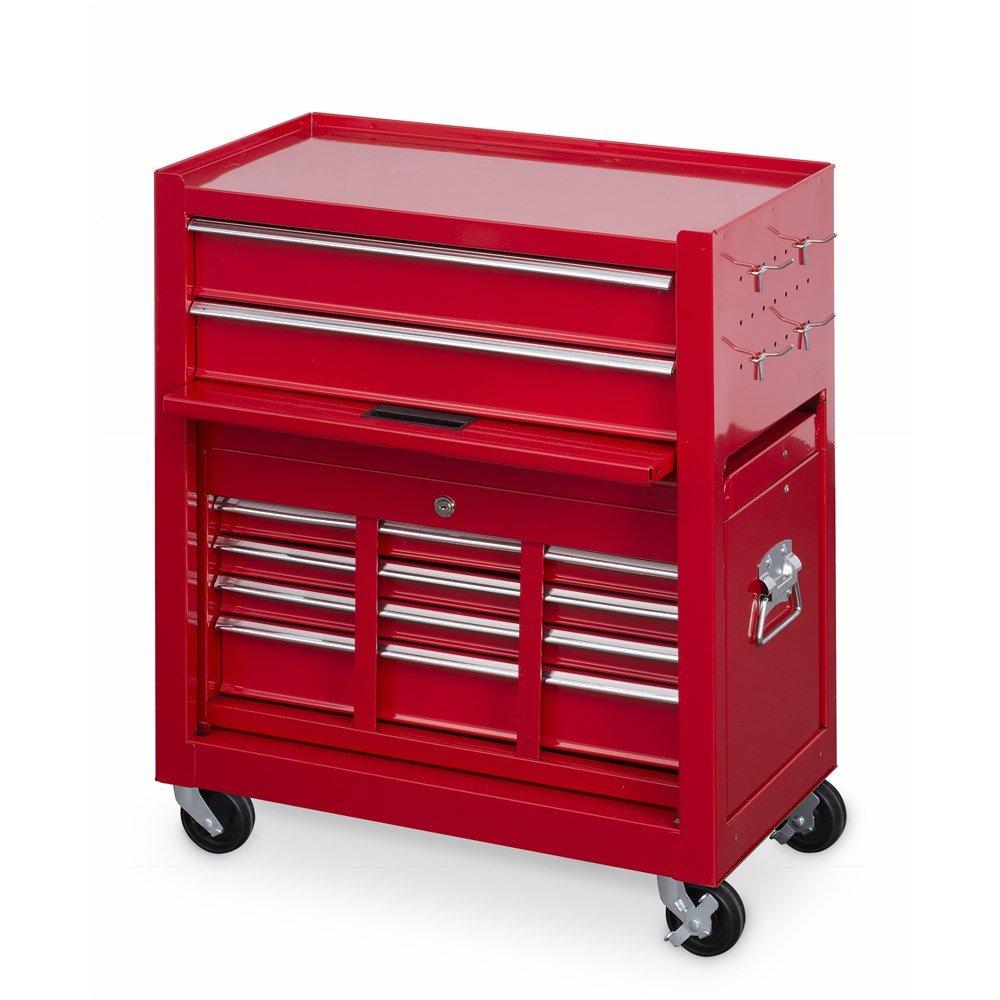 Powerplus KRT653002 - Armario para herramientas de acero con 8 cajones, caja superior, ruedas, cierre de seguridad, 2 llaves y barras de seguridad de acero, ...