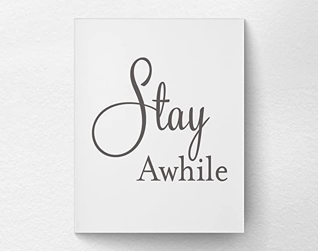 Amazon com: Stay Awhile Modern Farmhouse Art Print Poster, Guest