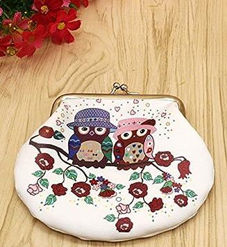 4/* 12/cm BIGBOBA Mode Vintage Hibou Petit Portefeuille Hasp Portefeuille Porte-Monnaie pour Femmes Sacs de cl/és A 14 * 9.5cm