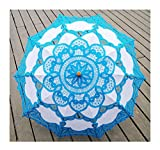 Zukzi Ladies Vintage Embroidered Lace Parasol Outdoor Wedding Parasols 10 Colors, Blue
