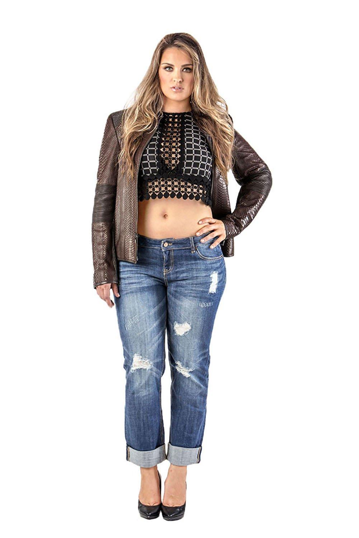 Standards & Practices Curvy Women's Plus Size Stretch Denim Destroyed Boyfriend Jeans Size 18 x 32Length