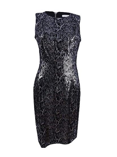 Calvin Klein Womens Petites Velvet Sequined Clubwear Dress
