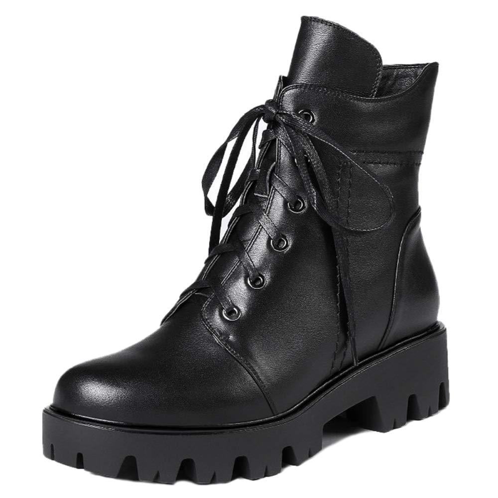Frauen Schnüren Sich Zip Martin Stiefel Frauen Stiefelies Low Heel Stiefeletten Aus Echtem Leder Verdicken Kurze Kanister Schuhe Militärritter Stiefel,schwarz-Glossy-38