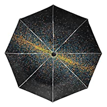 BAIHUISHOP Nebula Night Universe Starry Solar System Windproof Umbrellas Auto Open Close 3 Folding Golf Strong Durable Compact Travel Umbrella Uv Protection Portable Lightweight Easy Carrying and Sli