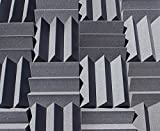 Bass Absorbing Wedge Style Panels - Soundproofing Acoustic Studio Foam - 12''x12''x4'' Tiles - 2 Pack - DIY