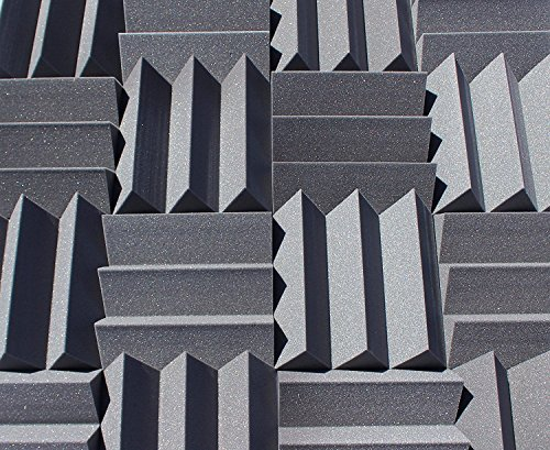 Bass Absorbing Wedge Style Panels - Soundproofing Acoustic Studio Foam - 12''x12''x4'' Tiles - 2 Pack - DIY by SoundAssured