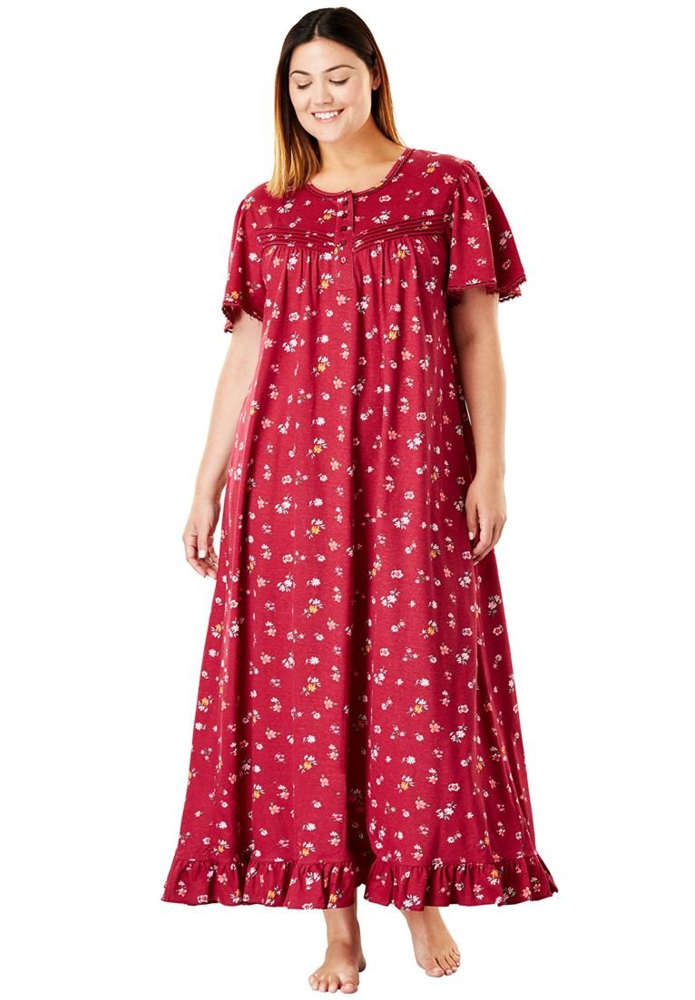 Dreams & Co. Women's Plus Size Long Cotton Gown