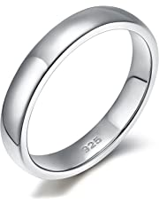 2mm 4mm 6mm 925 Sterling Silver Ring High Polish Plain Dome Wedding Band Comfort Fit Size 4-12
